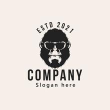 Vintage Gorilla Heads Logo Design Vector Illustration Isolated Design Element