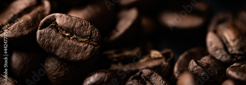 Obraz na plátne Coffee beans background, roasted signature bean with rich flavour, best morning drink and luxury blend