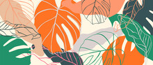 Abstract Art Nature Background Vector. Modern Shape Line Art Wallpaper. Bright Foliage Botanical Tropical Leaves And Floral Pattern Design For Summer Sale Banner , Wall Art, Prints And Fabrics.