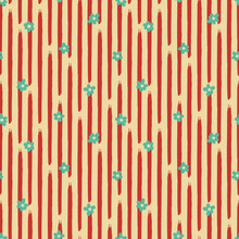 Vector Green Flowers Striped Yellow Repeat Pattern