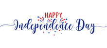 Happy Independence Day 4th Of July - Happy July 4th Lettering Design Illustration. Good For Advertising, Poster, Announcement, Invitation, Party, Greeting Card, Banner, Gifts, Printing Press.