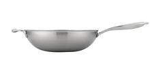 Modern Classic Cookware Product Like New Technology Pan Fry, Big Soup Pot, Rack And Spatula On White Background Utensil For Kitchen