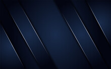 Abstract Dark Blue Background With Metallic Line. Long Horizontal Background Design. Usable For Background, Wallpaper, Banner, Poster, Brochure, Card, Web, Presentation