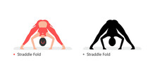 Young Sporty Woman Practicing Yoga, Straddle Fold. Flat Style. Isolated On Black Background