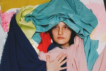 Funny Comedy Artistic Abstract Portrait Ofyoung Woman Giving A Serious Pose In Crazy Background