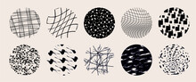 Circle Textures With Hand Drawn Textures Made With Ink Pencil Brush Geometric Patterns Of Spots Dots Strokes Stripes Lines