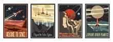 Retro Futurism Style American Astronautics Propaganda Posters Stylization, Mid Century Modern Futurism Art