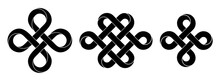 Set Of Signs Made With Ribbons Intertwined As Endless Knot And Bowen Cross. Stylized Ancient Traditional Symbols For Tattoo Design. Vector Illustration.