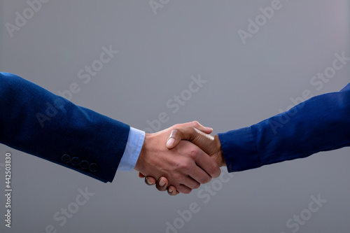 Caucasian and african american business people shaking hands, isolated on grey background