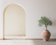 Cozy Living Room Design, Bright Wall Mockup, 3d Render