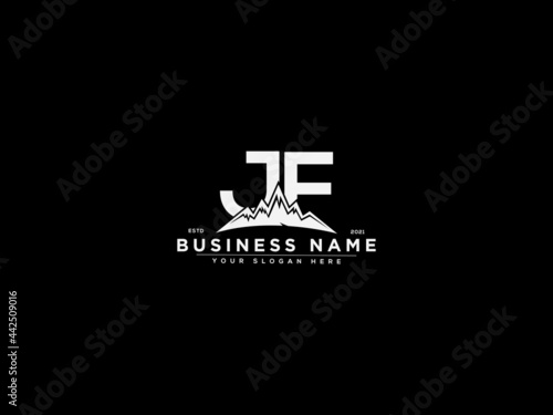 Foto Letter JF Logo, mountain jf logo icon vector for river forest hill landscape sil