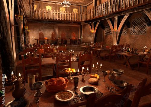 Fototapeta 3D Rendering Medieval Great Hall