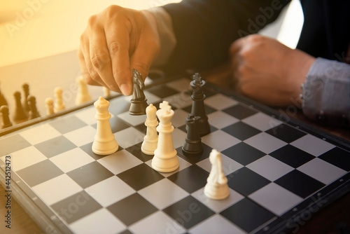Fotografering Close up chess board game for ideas and competition and strategy
