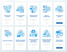 Autistic Therapy Methods Onboarding Mobile App Page Screens Set. Autism Signs Walkthrough 5 Steps Graphic Instructions With Concepts. UI, UX, GUI Vector Template With Linear Color Illustrations