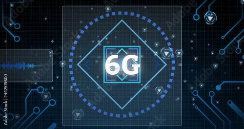 Image of 6g text with scope scanning and data processing on screens over grid