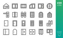 Windows And Doors Isolated Icon Set. Set Of Window Frame, Double Front Door, Door Handle, Hidden Hinge, Pvc Window Profile Outline Vector Icons