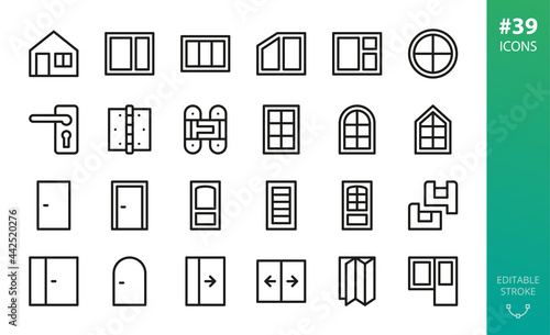 Foto Windows and doors isolated icon set
