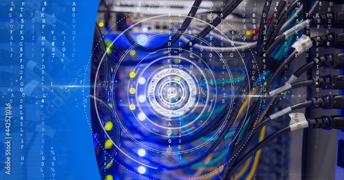 Round scanner and data processing over computer server against blue technology background