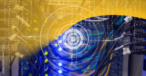 Round scanner and data processing over computer server against yellow technology background