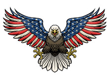 American Flag Painted Bald Eagle