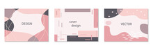 Set Of Abstract Horizontal Vector Backgrounds In Pink Colors In Trendy Memphis Style