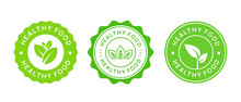 Set Of Healthy Food Icons. Natural Organic Product Label Sign. Eco Stamp. Bio Badge.