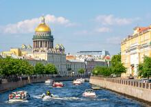 St. Isaac's Cathedral And Yusupov Palace Along Moyka River, Saint Petersburg, Russia