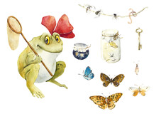 Frog With Butterfly Net. Fantastic Character. Watercolor Hand Drawing Illustration
