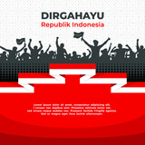 indonesian independence day background vector red white