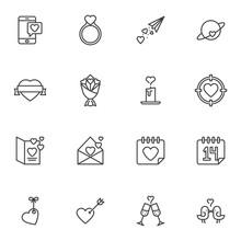 Valentines Day Line Icons Set