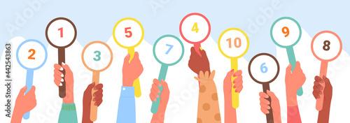 Fotografia Scorecard customer review rating, client feedback service concept vector illustration