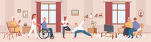 Cartoon Happy Senior Man Woman Characters Do Yoga Sport Exercises, Read Books In Room Interior, Disabled Person In Wheelchair With Nurse. Elderly People Care In Nursing Home Vector Illustration