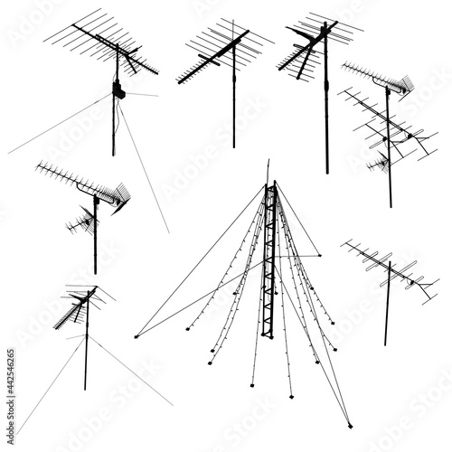 Photo Set with silhouettes of antennas isolated on white background