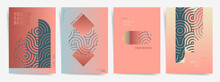 Modern Art Poster Template Set. Gradient Geometric Wavy Design Background For Poster, Cover, Brochure, Banner. Gradient Backdrop. Abstract Geometric Shapes, Japanese Wave Lines, Artistic Design Set.
