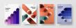 Premium postcard design vector layout collection. Clean 3D orbs banner template bundle.