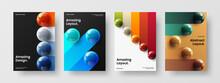 Bright Realistic Balls Poster Illustration Collection. Vivid Handbill A4 Design Vector Template Set.