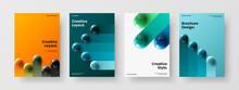 Multicolored Realistic Balls Corporate Brochure Template Set. Bright Magazine Cover A4 Vector Design Layout Composition.