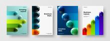 Simple Cover A4 Vector Design Illustration Bundle. Clean 3D Balls Poster Layout Composition.