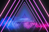 Fototapeta Perspektywa 3d - 3d render, ultraviolet neon triangular portal, glowing lines, tunnel, corridor, virtual reality, abstract fashion background, violet neon lights, arch, pink blue triangle, spectrum, laser show