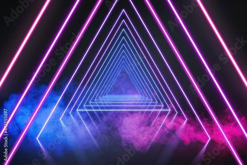 Fotografie, Obraz 3d render, ultraviolet neon triangular portal, glowing lines, tunnel, corridor,