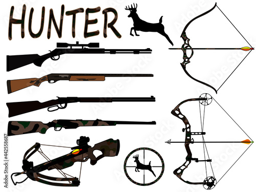 Leinwand Poster Collection of hunting vectors, graphic design, illustration, muzzleloader, shotgun, rifle, crossbow, recurve bow, compound bow, scope, deer silhouette