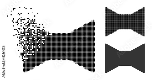 Fotografie, Tablou Destructed pixelated tie bow glyph with halftone version