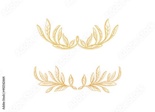 Obraz na plátně Set of crown. Hand drawn border, olive foliage
