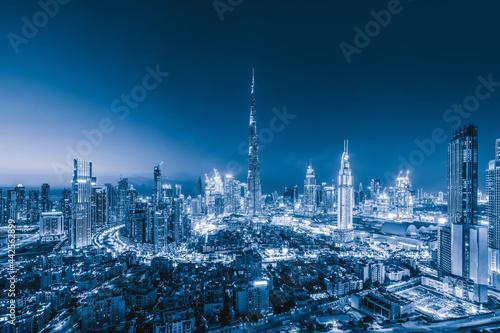 Aerial view of Dubai Downtown skyline, highway roads or street in United Arab Emirates or UAE Fototapeta