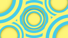 Abstract. Colorful Pastels Blue, Yellow Circle Mirage Shape Overlap Background. Paper Art Style ,light And Shadow. Vector.