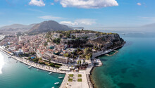 Nafplio Or Nafplion City, Greece, Old Town And Fortress Aerial Drone View.
