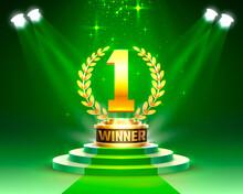 Winner 1 Best Podium Award Sign, Golden Object.