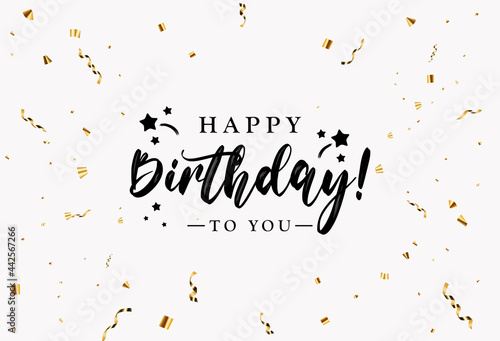 Canvas Print Happy Birthday congratulations banner design with Confetti, Balloons and Glossy Glitter Ribbon for Party Holiday Background