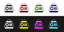 Set Space Capsule Icon Isolated On Black And White Background. Vector