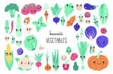Set Of Cute Kawaii Baby Vegetables, Funny Cartoon Vitamin Plant Stickers Collection. Smiling Food Characters Concept, Carrot, Sweet Potato, Tomato, Pumpkin, Avocado, Onion Clipart In Modern Flat Style